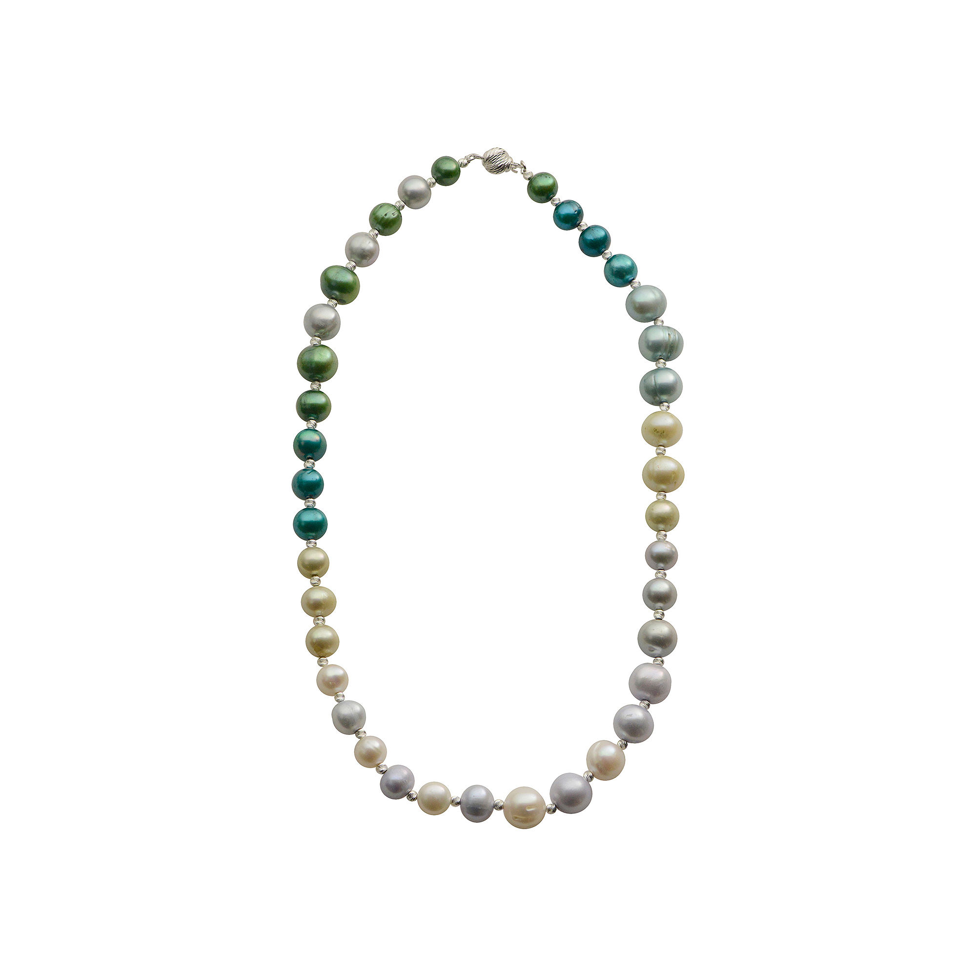 Cultured Freshwater Green & Blue Pearl Sterling Silver Ombr Necklace