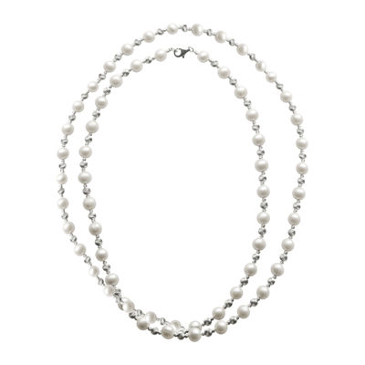 "Cultured Freshwater Pearl & Brilliance Bead Sterling Silver 36"" Necklace"