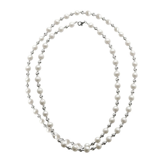 """Cultured Freshwater Pearl & Brilliance Bead Sterling Silver 36"""" Necklace"""