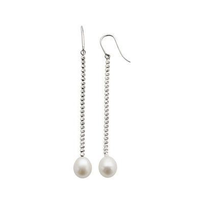Cultured Freshwater Pearl & Brilliance Bead Sterling Silver Drop Earrings