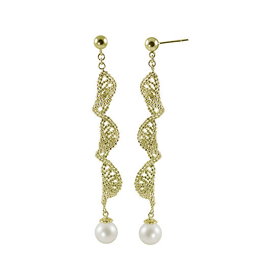 Cultured Freshwater Pearl 14K Gold Over Sterling Silver Brilliance Bead Earrings