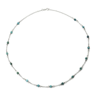 Enhanced Turquoise Round Stone Sterling Silver Station Necklace