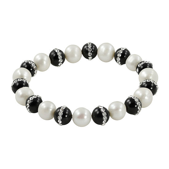 Cultured Freshwater Pearl & Heat-Treated Onyx Stretch Bracelet