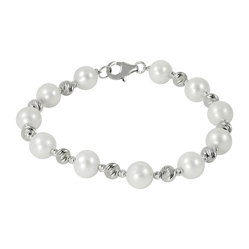 Cultured Freshwater Pearl & Brilliance Bead Sterling Silver Bracelet