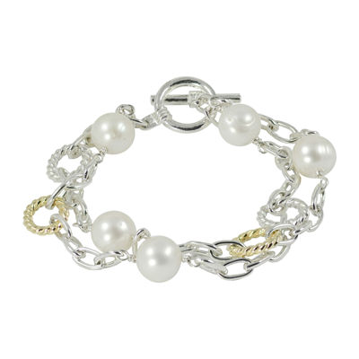 Cultured Freshwater Pearl Two-Tone Bracelet