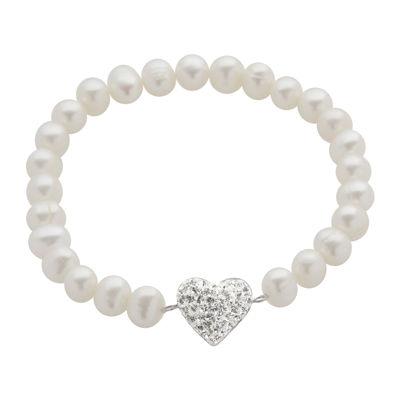 Cultured Freshwater Pearl & Crystal Heart Stretch Bracelet