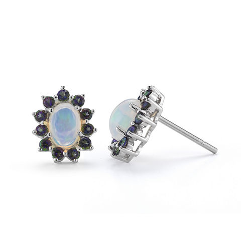 Opal & Mystic Fire Topaz Sterling Silver Stud Earrings