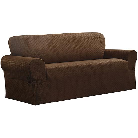 Maytex Smart Cover® Conrad Geometric Grid Stretch 1 Piece Sofa Furniture Cover Slipcover
