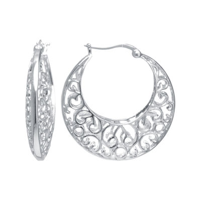 Silver Reflections™ Silver-Plated Filigree Caged Earrings