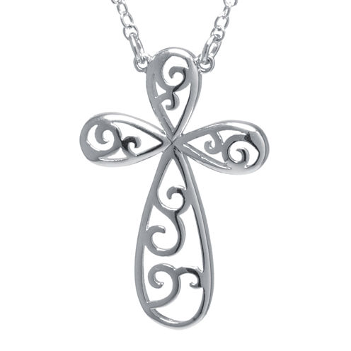 Sterling Silver Open Filigree Rounded Cross Pendant Necklace