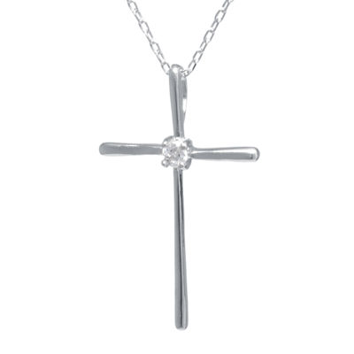 Cubic Zirconia Center Sterling Silver Cross Pendant Necklace