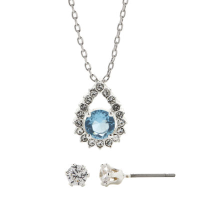 Sparkle Allure™ Cubic Zirconia and Blue Crystal Earring and Pendant Necklace Set