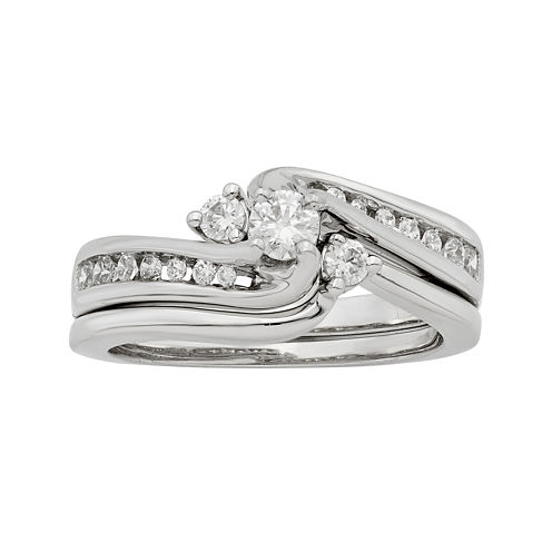 LIMITED QUANTITIES 1/2 CT. T.W. Diamond 14K White Gold Bridal Ring Set