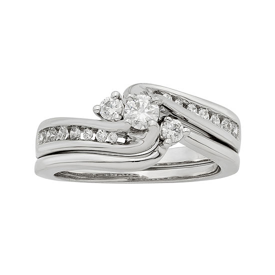 Limited Quantities 1 2 Ct Tw Diamond 14k White Gold Bridal Ring Set