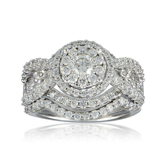 Limited Quantities 2 Ct Tw Diamond 14k White Gold Bridal Ring Set