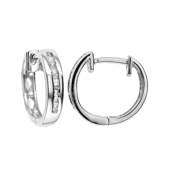 T W Diamond 10k White Gold Hoop Earrings