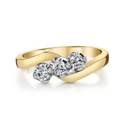Sirena® 1/3 CT. T.W. Diamond 14K Two-Tone Gold 3-Stone Ring