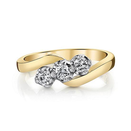 Sirena 1 3 Ct Tw Diamond 14k Two Tone Gold 3 Stone Ring