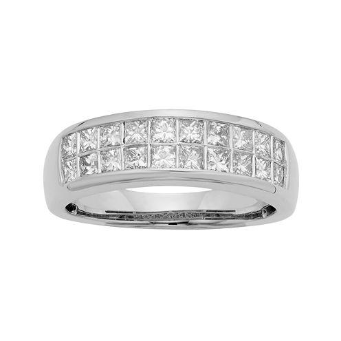 1 CT. T.W. Diamond 14K White Gold Princess-Cut Wedding Band
