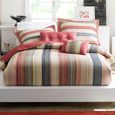 Retro Chic Cotton Striped Quilt