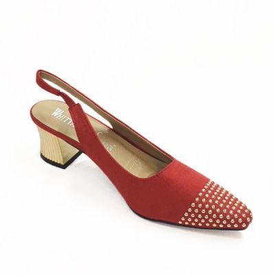 Whittall & Shon Womens Studs Pumps Soft Toe Cone Heel