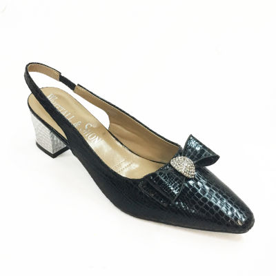 Whittall & Shon Womens Soft Toe Cone Heel Baby Croc Pumps