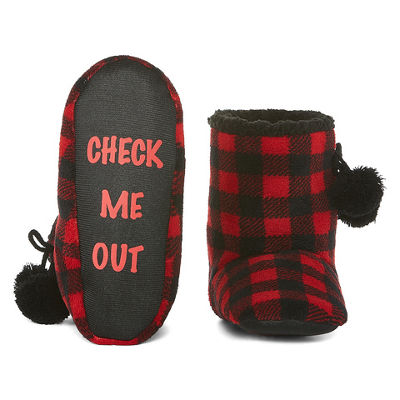 Mixit Printed Plush Bootie Slippers with Pom
