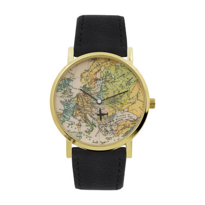 Geneva Platinum Womens Black Bracelet Watch-10086
