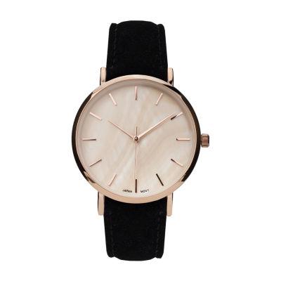 Geneva Platinum Womens Black Strap Watch-10133