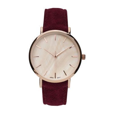 Geneva Platinum Womens Red Strap Watch-10133