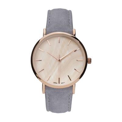 Geneva Platinum Womens Gray Strap Watch-10133
