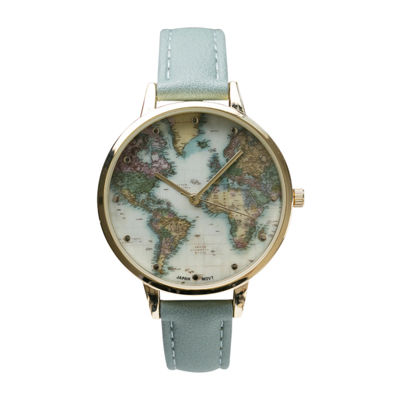 Geneva Platinum Womens Green Strap Watch-10150