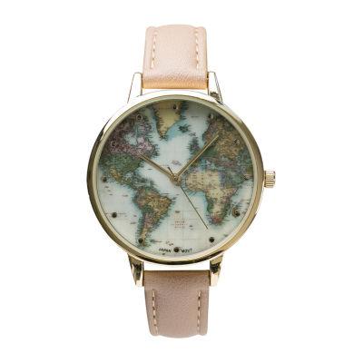 Geneva Platinum Womens Brown Strap Watch-10150