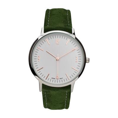Geneva Platinum Womens Green Strap Watch-10113