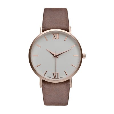 Geneva Platinum Womens Brown Strap Watch-10106
