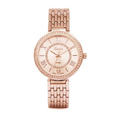 Geneva Platinum Womens Rose Goldtone Bracelet Watch-5883