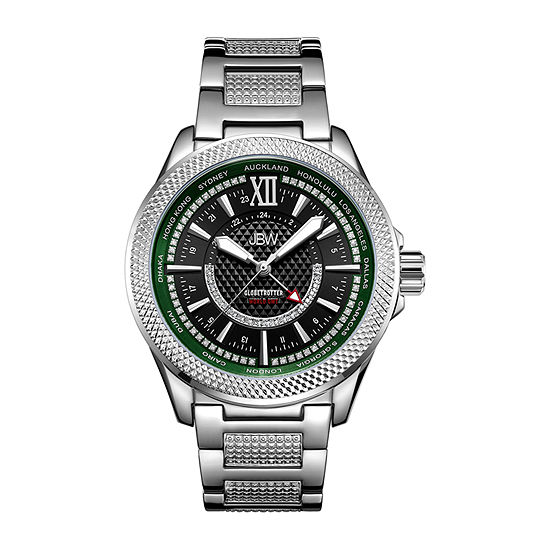 Jbw Mens 10 Yr Anniversary Gmt Globetrotter 021 Ctw Diamond Watch J6365 10a