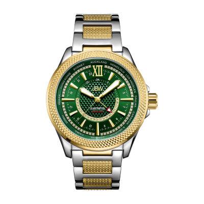JBW Mens 10 YR Anniversary GMT Globetrotter 0.21 ctw Diamond Watch J6365-10d