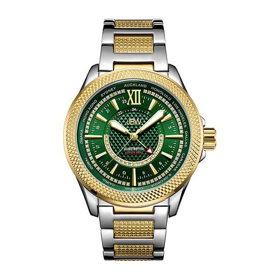 JBW 10 Yr Anniversary Gmt Globetrotter 1/5 C.T. T.W. Genuine Diamond Mens Multi-Function Diamond Accent Gold Tone Stainless Steel Bracelet Watch-J6365-10d