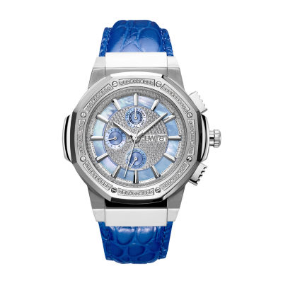 JBW 10 Yr Anniversary Saxon 1/6 C.T. T.W. Genuine Diamond Mens Multi-Function Diamond Accent Blue Stainless Steel Bracelet Watch-Jb-6101l-10b