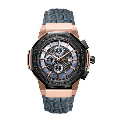 JBW Men's 10 YR Anniversary Saxon 0.16 ctw Diamond & 18K Rose-gold Plated Watch JB-6101L-10C