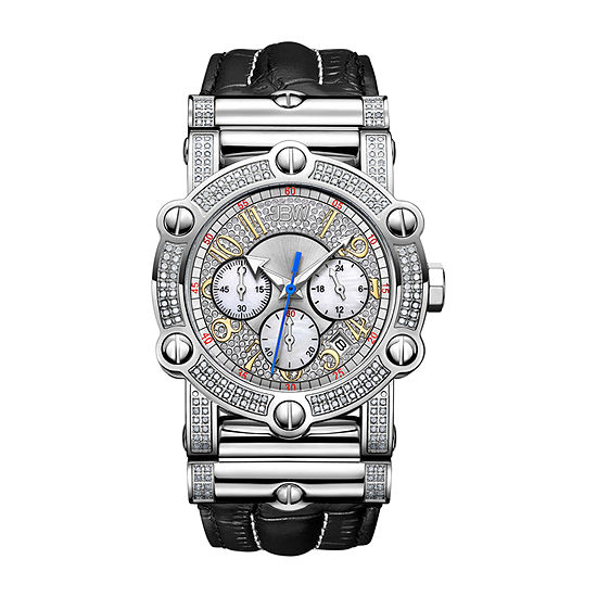 JBW 10 Yr Anniversary Phantom 2 C.T. T.W. Genuine Diamond Mens Multi-Function Diamond Accent Black Stainless Steel Bracelet Watch-Jb-6215-10a