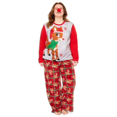 Rudolph The Red Nose Reindeer Womens-Plus Pant Pajama Set 2-pc. Long Sleeve Family