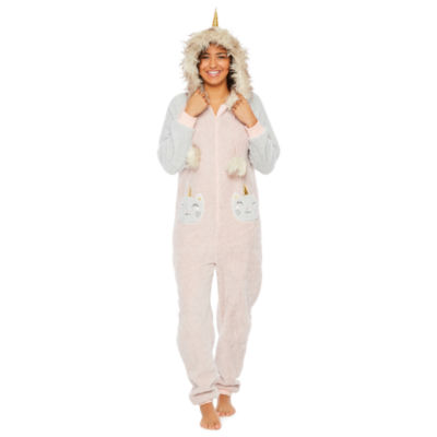Peace Love And Dreams Womens Juniors Plush Onesie Pajama Long Sleeve