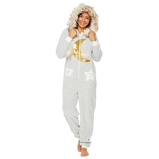 Peace Love And Dreams Womens Juniors Plush Onesie Pajama Long ... 816811bd0