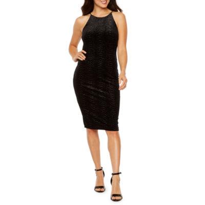 Premier Amour Sleeveless Velvet Glitter Knit Sheath Dress
