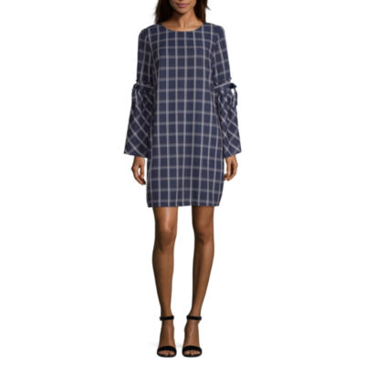 Weslee Rose Long Sleeve Checked Fit & Flare Dress