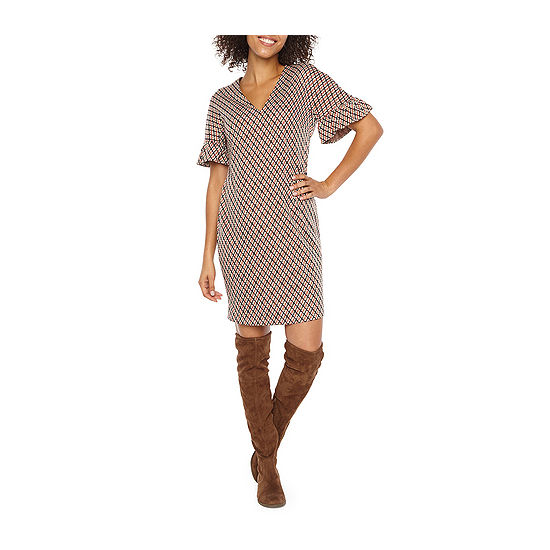 London Times Short Sleeve Shift Dress