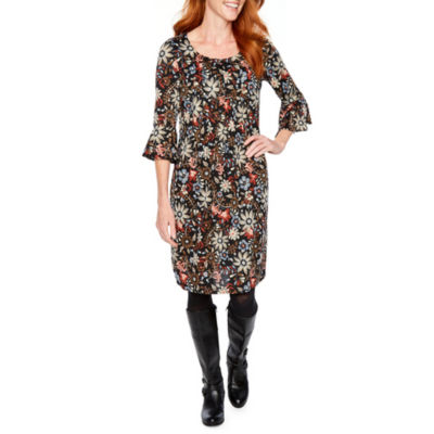 Perceptions 3/4 Bell Sleeve Floral Shift Dress
