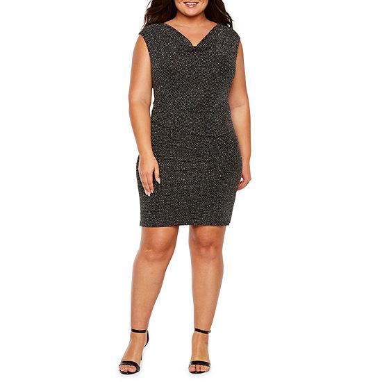 Scarlett Sleeveless Glitter Ruched-Side Sheath Dress - Plus